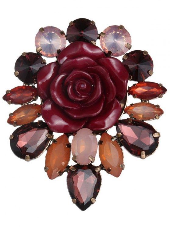 sale Enamel Faux Crystal Flower Brooch - TUTTI FRUTTI