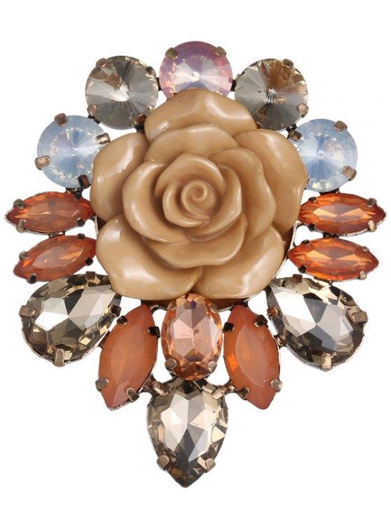 affordable Enamel Faux Crystal Flower Brooch - COFFEE