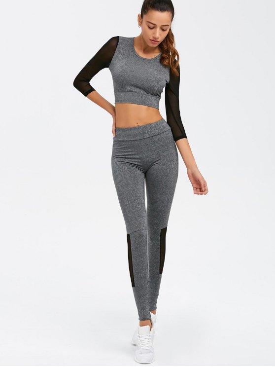 Mesh Spliced Skinny Sport Suit - GRAY S Mobile
