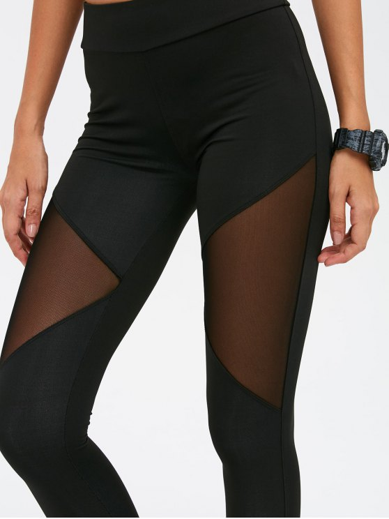 See-Through Mesh Spliced Skinny Sport Suit - BLACK S Mobile