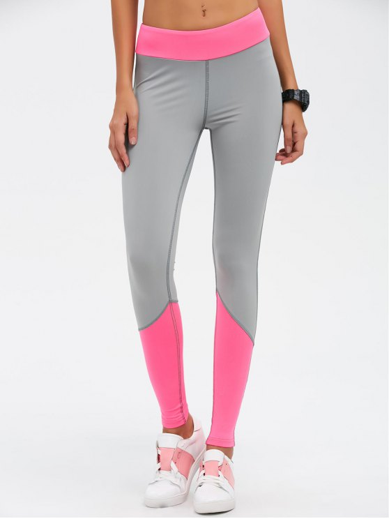 Color Block High Waist Skinny Yoga Leggings - ROSE RED L Mobile