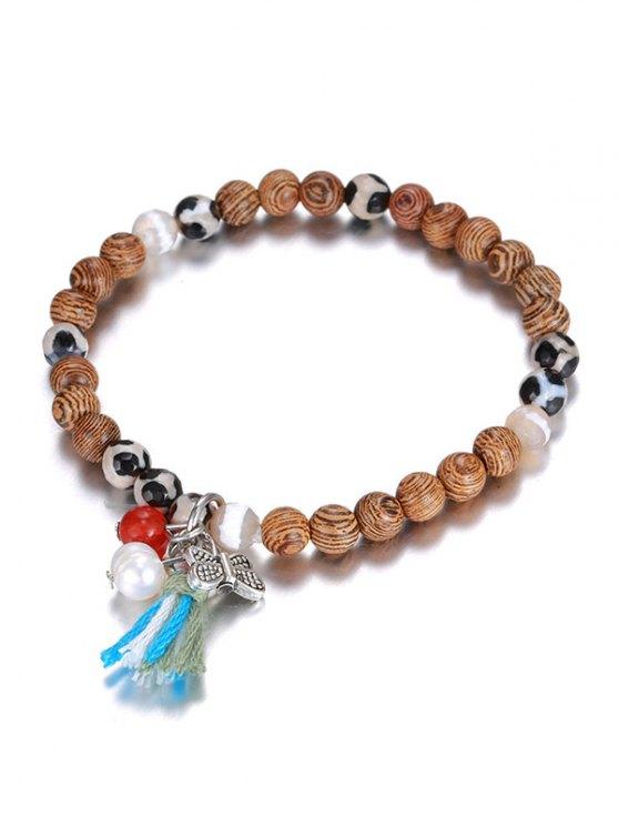 fancy Wood Beads Charm Bracelet - COFFEE