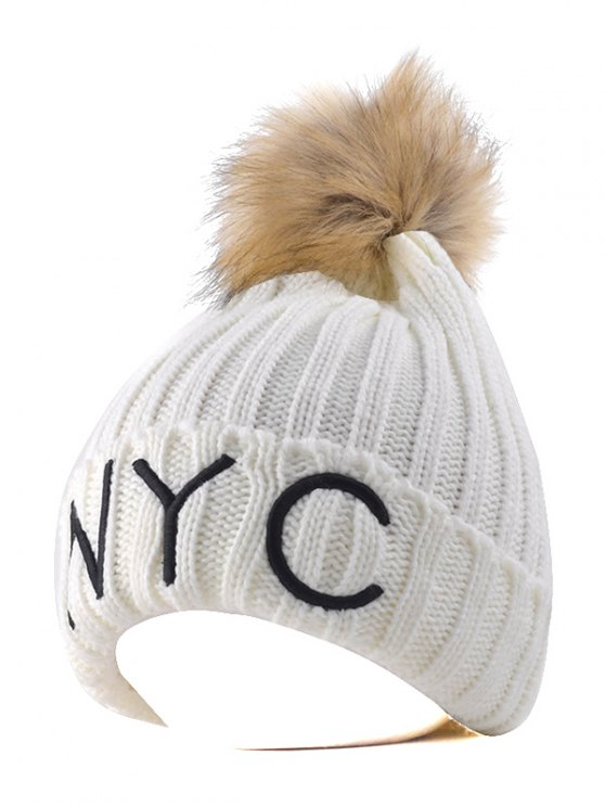 new Knitted NYC Embroider Pom Ball Beanie Hat - WHITE