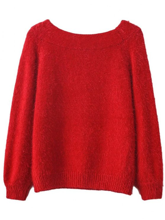 Off Shoulder Fluff Knitwear - RED ONE SIZE Mobile