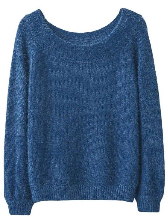 Off Shoulder Fluff Knitwear - BLUE ONE SIZE Mobile