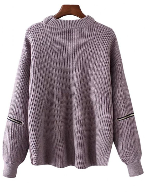 Plus Size Cut Out Chuky Choker Sweater - LIGHT PURPLE ONE SIZE Mobile