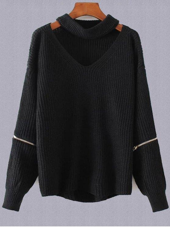 Plus Size V Neck Sweater Choker - Noir TAILLE MOYENNE