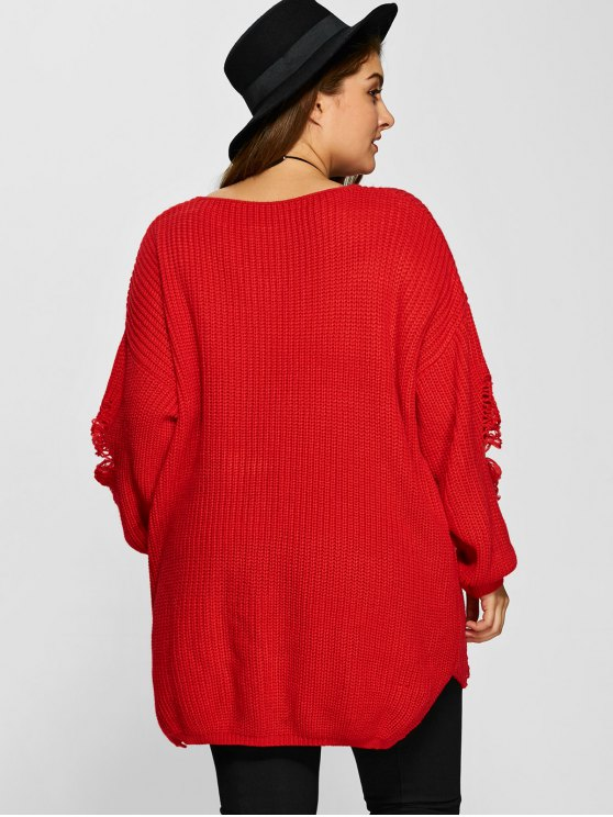 Plus Size Distressed Longline Pullover Sweater - RED 5XL Mobile