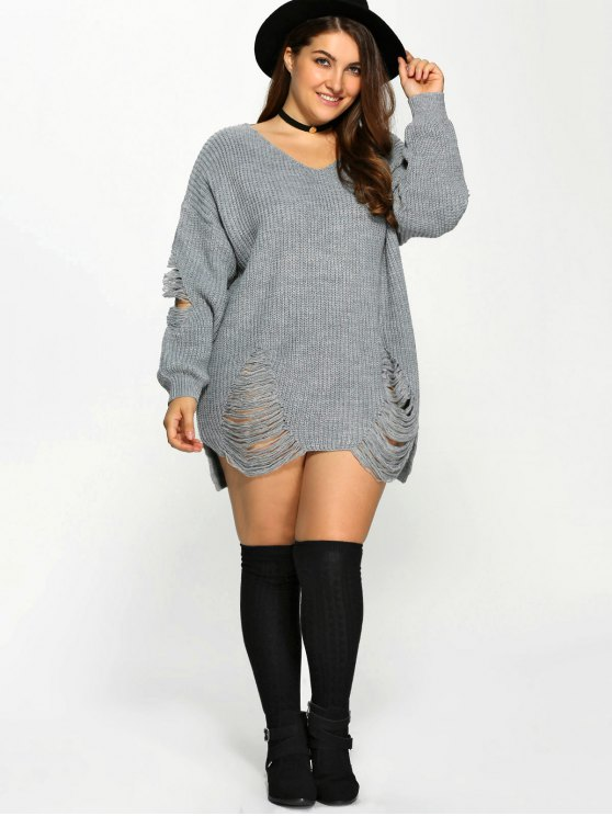Plus Size Distressed Longline Pullover Sweater - GRAY 3XL Mobile