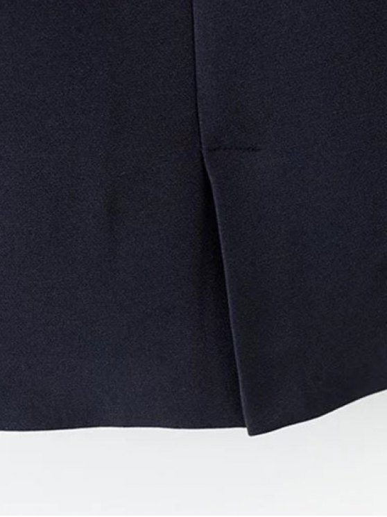 Single-Breasted Stand Neck Coat - DEEP BLUE S Mobile