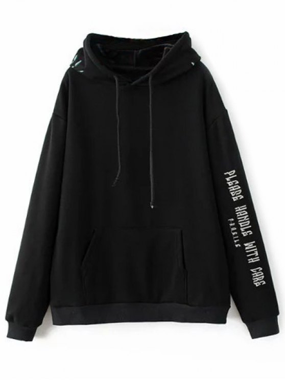 Graphic Floral Embroidered Hoodie - BLACK M Mobile