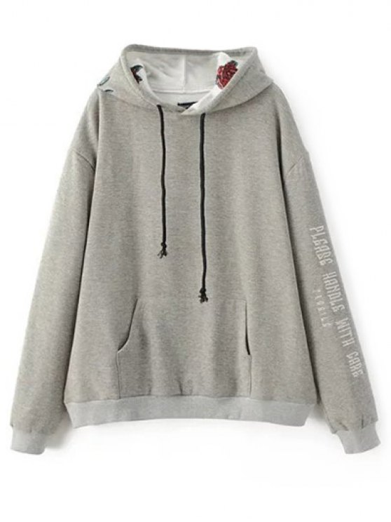 Graphic Floral Embroidered Hoodie - GRAY M Mobile