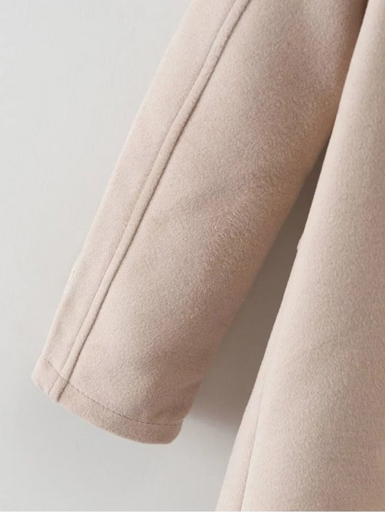 Hooded Pockets Wool Blend Coat - APRICOT M Mobile