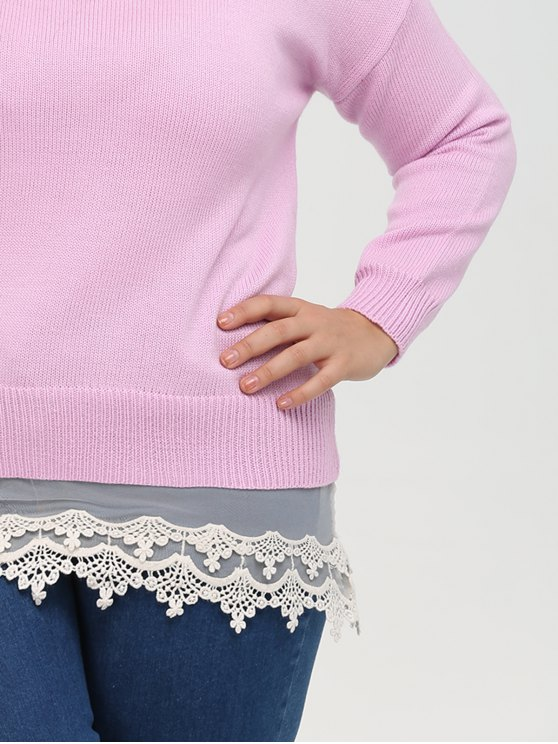 Lace Insert Crew Neck Plus Size Sweater - PINK 2XL Mobile