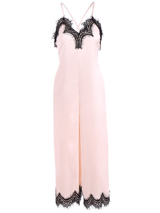 women's Criss Back Lace Spliced Jumpsuit - PINKBEIGE L
