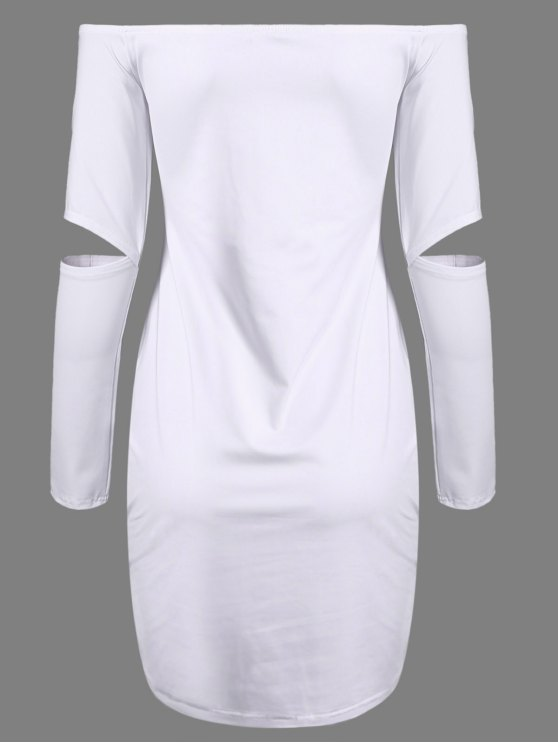 Off The Shoulder Long Sleeve Bodycon Dress - WHITE L Mobile