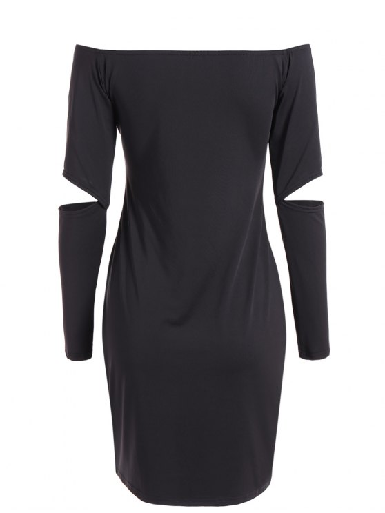 Off The Shoulder Long Sleeve Bodycon Dress - BLACK S Mobile