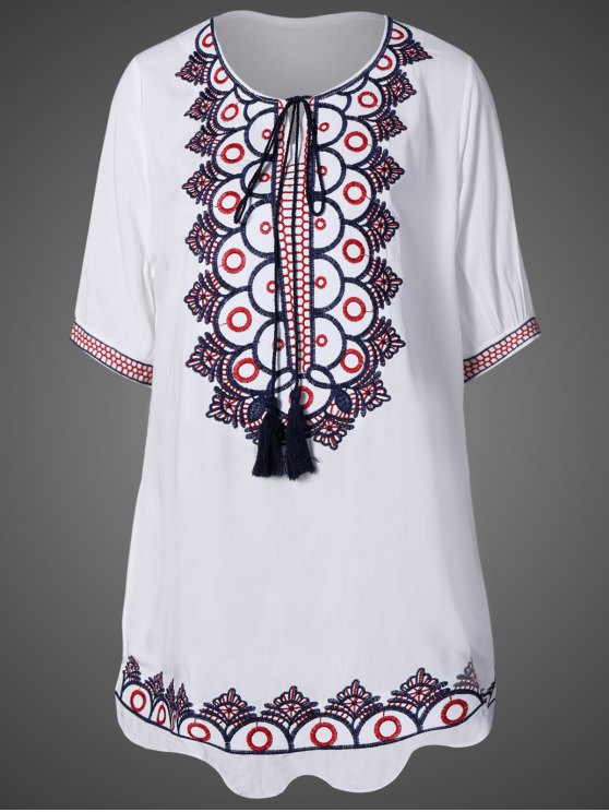 Scoop Neck Embroidered Mini Dress - WHITE ONE SIZE Mobile