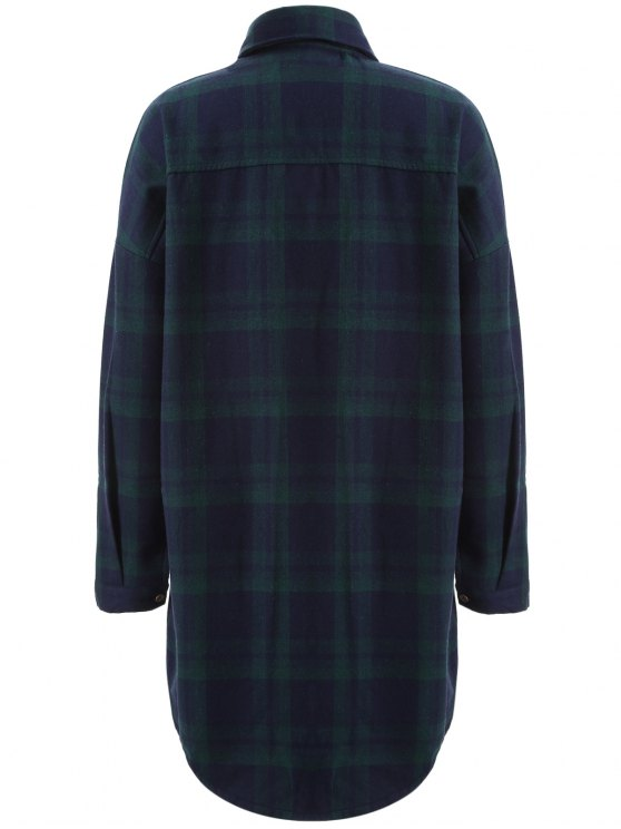 Plus Size Plaid Fleece Lined Shirt - GREEN 4XL Mobile