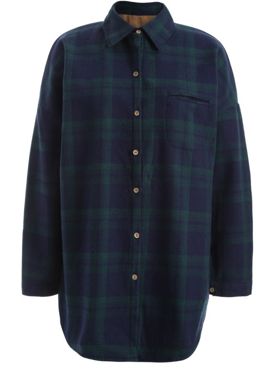 shops Plus Size Plaid Fleece Lined Shirt - GREEN 2XL