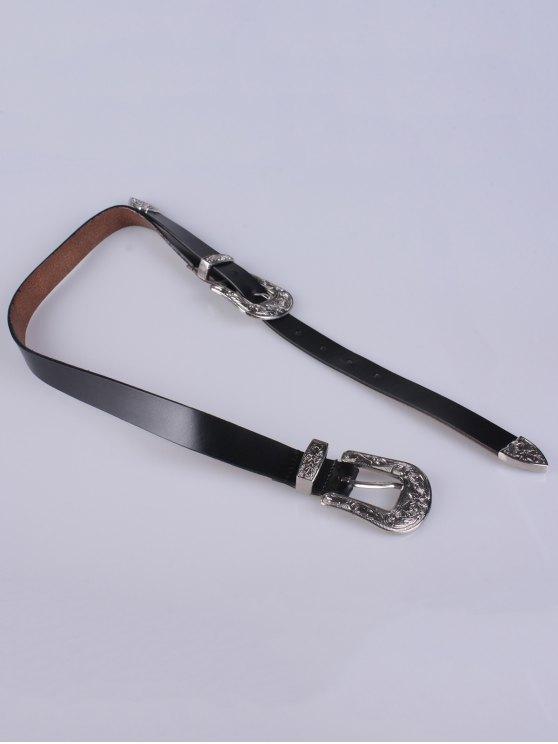 Double Pin Buckle Belt - BLACK  Mobile