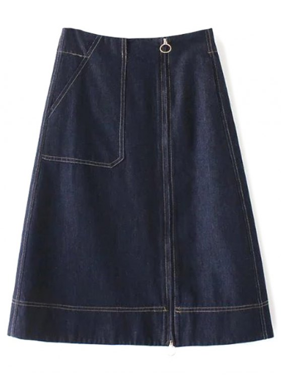 best Zippered A Line Jean Skirt - DEEP BLUE L