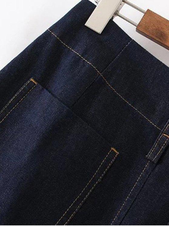 Zippered A Line Jean Skirt - DEEP BLUE L Mobile