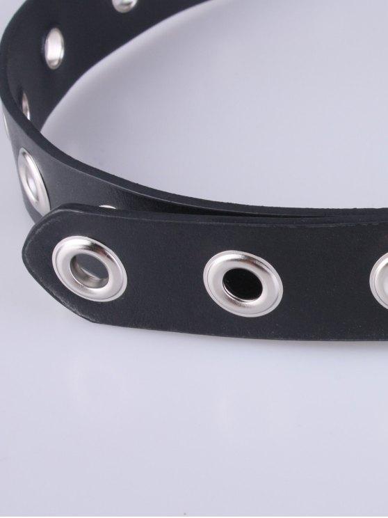 Hollow Iron Ring Rivet Belt - BLACK  Mobile