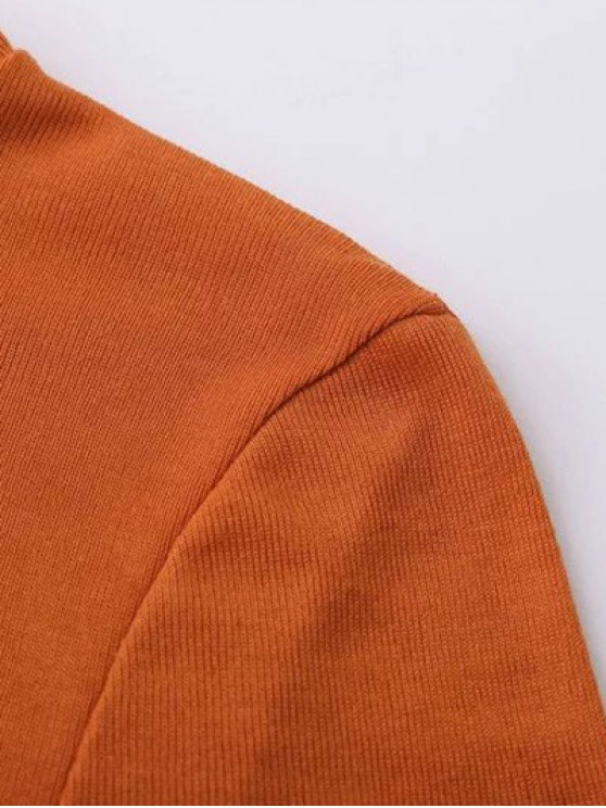 High Neck Long Sleeve Basic Tee - DEEP ORANGE S Mobile