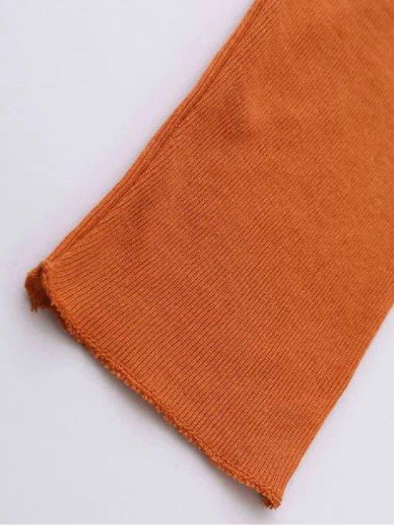 High Neck Long Sleeve Basic Tee - DEEP ORANGE L Mobile