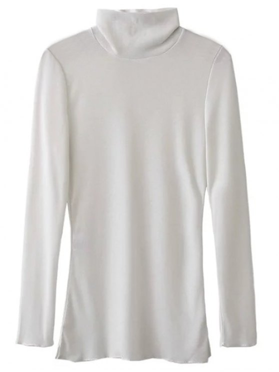 High Neck Long Sleeve Basic Tee - WHITE L Mobile