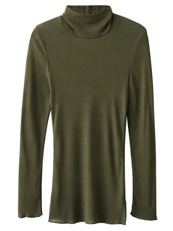 High Neck Long Sleeve Basic Tee - ARMY GREEN S Mobile