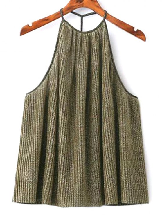 Shiny Pleated Halter Top - GOLDEN M Mobile