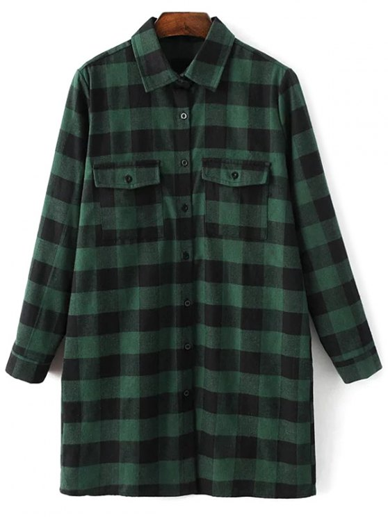 Long Sleeve Checked Boyfriend Shirt - GREEN L Mobile