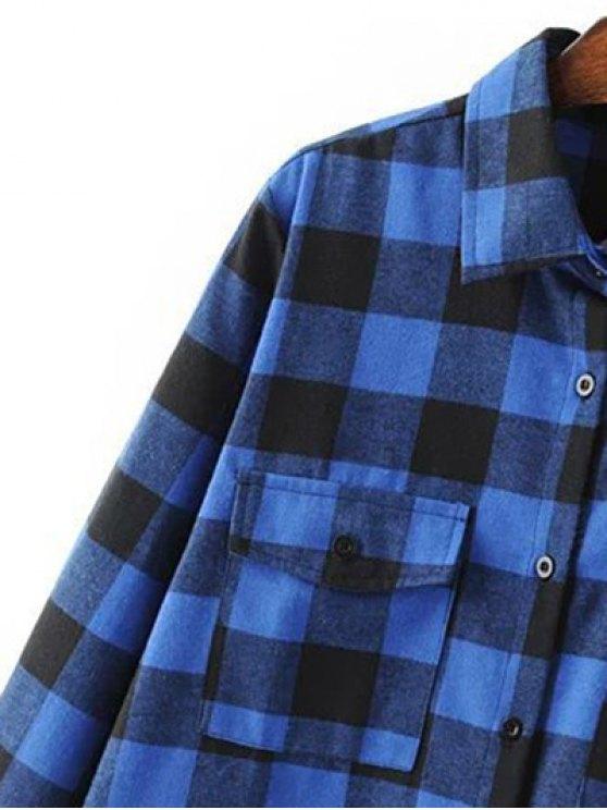 Long Sleeve Checked Boyfriend Shirt - GREEN L Mobile