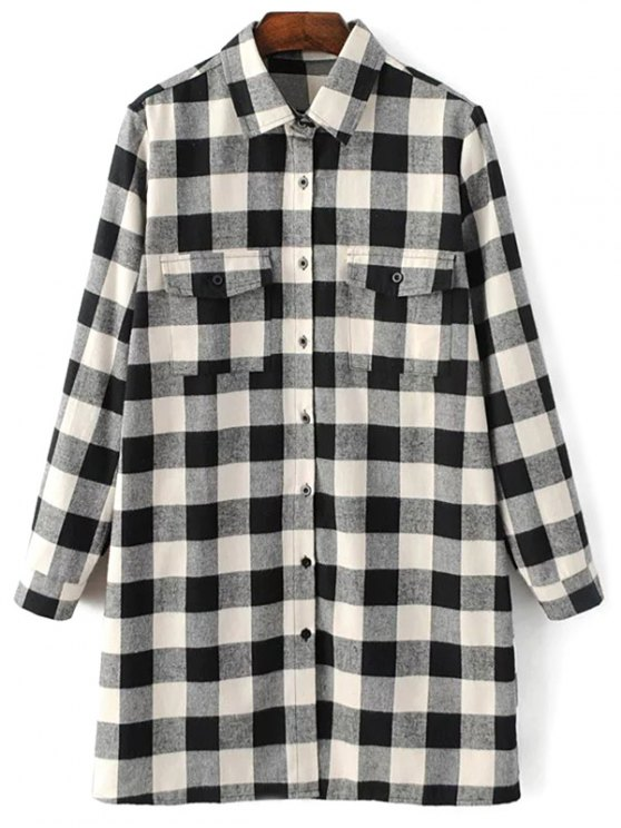 Long Sleeve Checked Boyfriend Shirt - WHITE AND BLACK L Mobile
