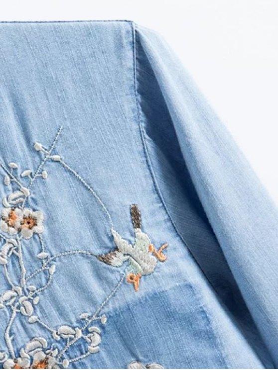 Floral Bird Embroidered Denim Shirt - LIGHT BLUE L Mobile