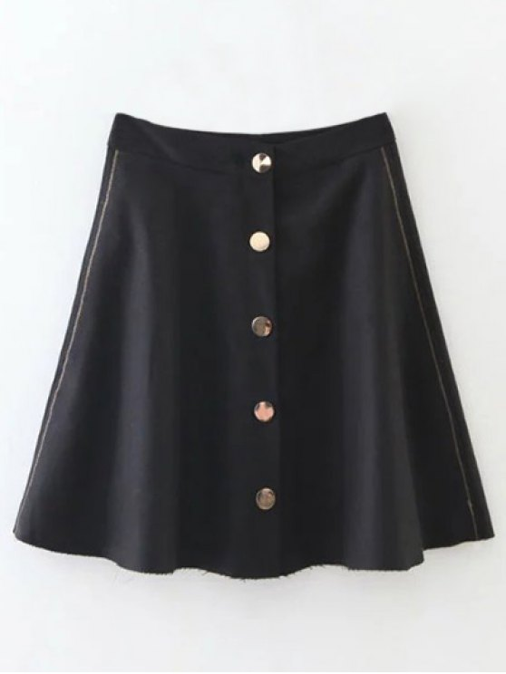 Winter Button Up A Line Skirt - BLACK S Mobile