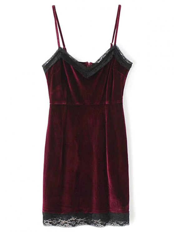 online Lace Panel Pleuche Mini Cami Dress - BURGUNDY M