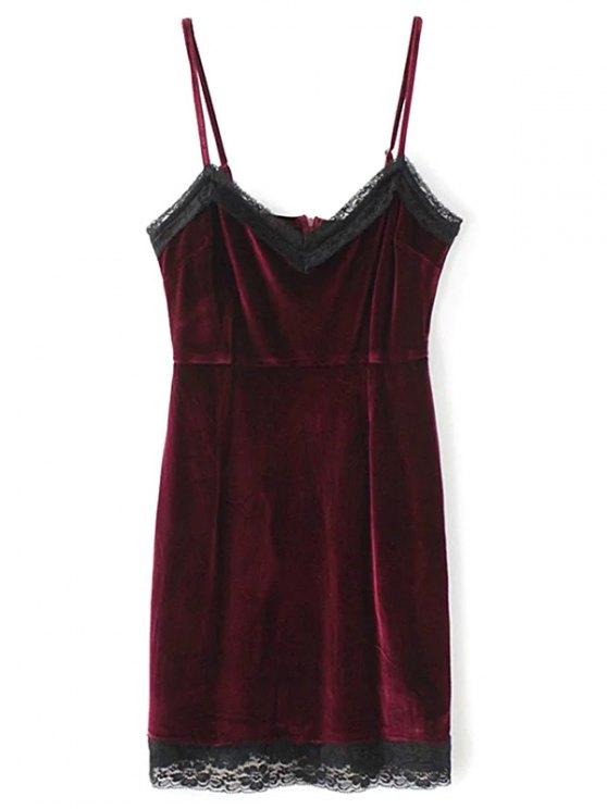 Panel Pleuche mini vestido de encaje Cami - Burdeos L