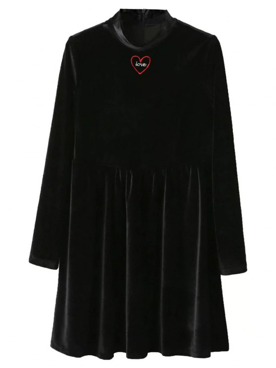 Mock Neck Velvet Flare Dress - BLACK S Mobile