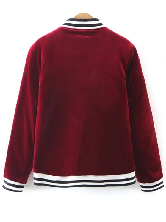 Quilted Velvet Bomber Jacket - BURGUNDY M Mobile