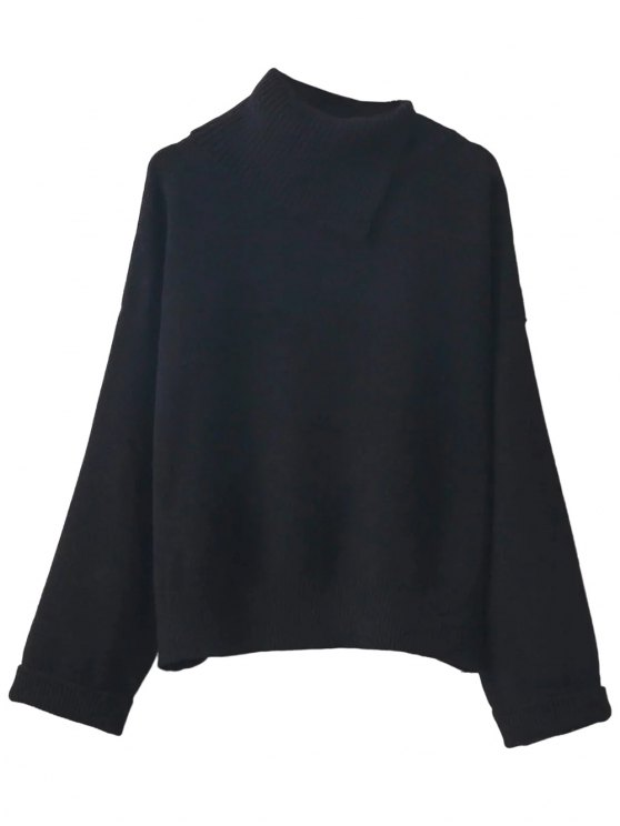 Asymmetric Neck Pullover Jumper - BLACK ONE SIZE Mobile