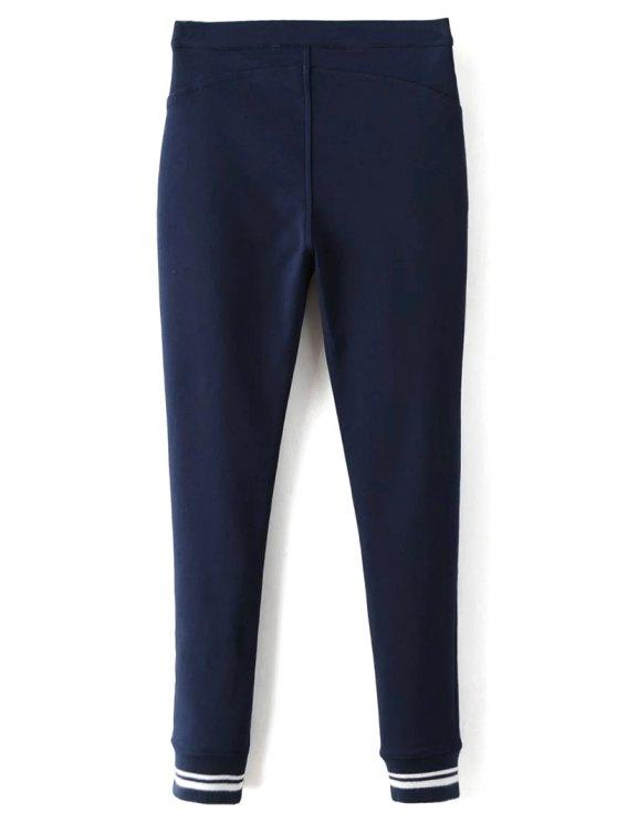 Fleece Lined Slim Pants - DEEP BLUE M Mobile