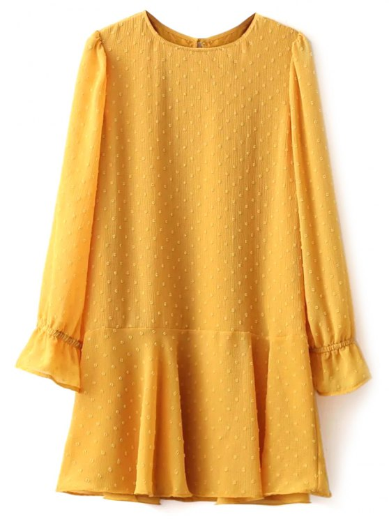 Dotted Round Neck Ruffles Shift Dress - YELLOW M Mobile