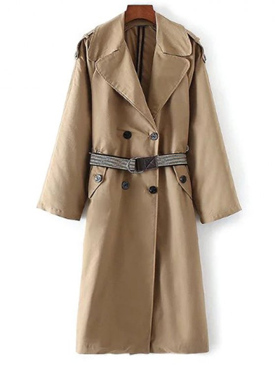 Wide Lapel Double Breasted Trench Coat - KHAKI L Mobile