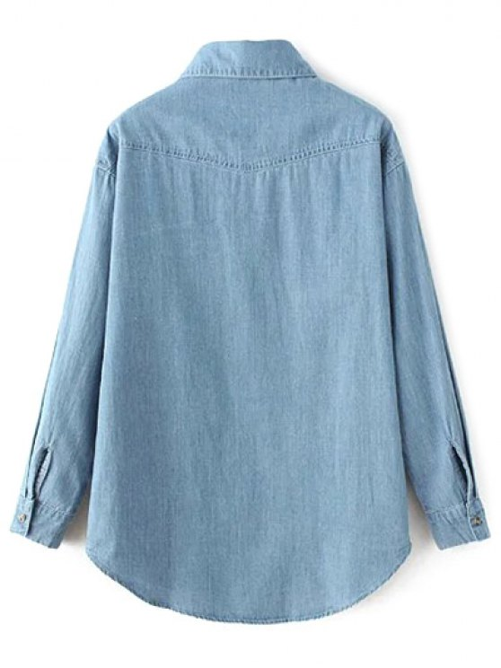 Flower Embroidered Pockets Chambray Shirt - LIGHT BLUE S Mobile