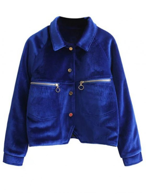 Graphic Embroidered Zipper Pocket Velvet Jacket - ROYAL S Mobile