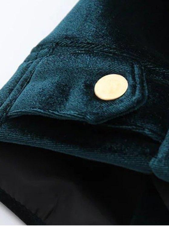 Graphic Embroidered Zipper Pocket Velvet Jacket - BLACKISH GREEN M Mobile
