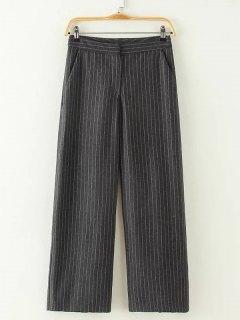 High Waist Stripe Wide Leg Pants - Deep Gray S